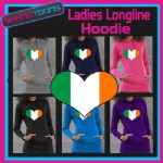 IRELAND IRISH FLAG LOVE HEART RUGBY LADIES LONGLINE HOODIE HOODY